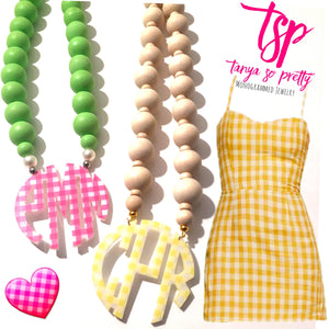 "tanya-sopretty - Yellow Gingham Block Monogram Necklace 3"" - Necklace"