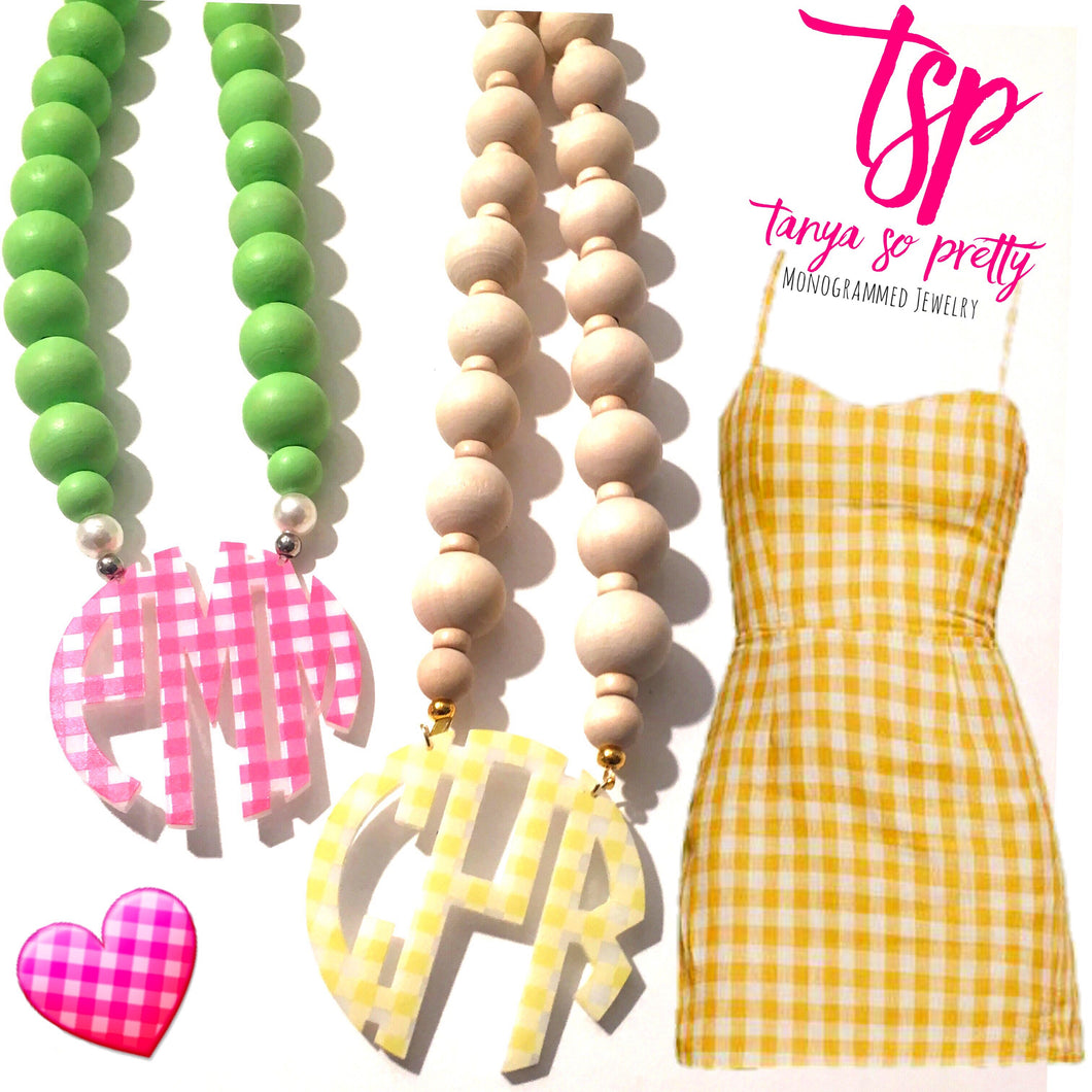 tanya-sopretty - Yellow Gingham Block Monogram Necklace 3