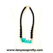 Load image into Gallery viewer, Noir Black & Emerald Name Necklace