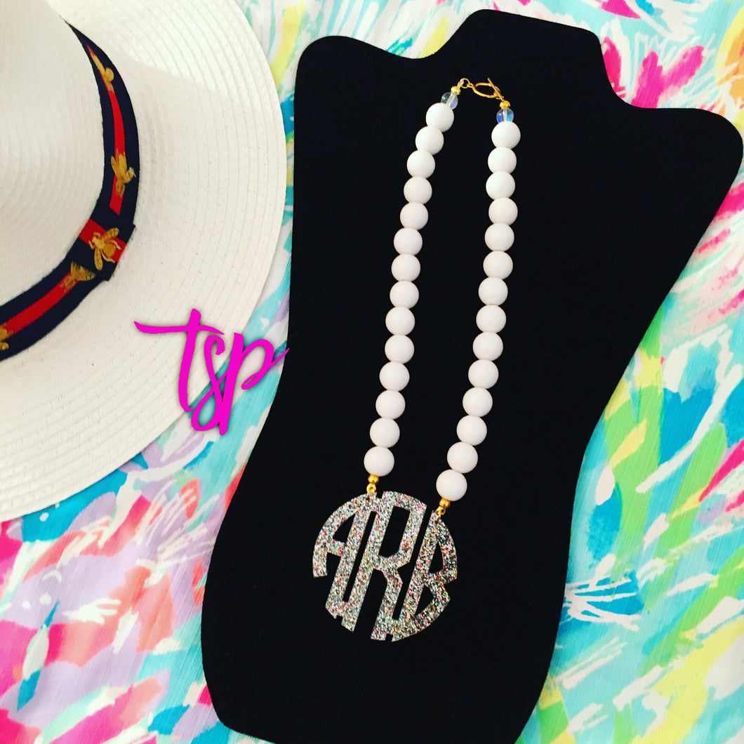 "tanya-sopretty - White Rainbow Sparkle Block Monogram Necklace 2.5"" - Necklace"