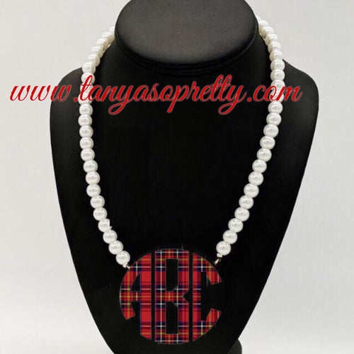 Tartan Amber Pearl Monogram Necklace