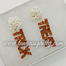 Load image into Gallery viewer, Pom Pom Spirit Earrings Ivory Orange