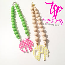 "Load image into Gallery viewer, tanya-sopretty - Yellow Gingham Block Monogram Necklace 3"" - Necklace"