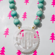 "Load image into Gallery viewer, tanya-sopretty - Seafoam & White Pearl Scallop Monogram Bauble Necklace 2.5"" - Necklace"