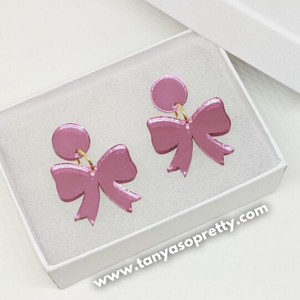 Grier Bow Earrings Pink Mirror