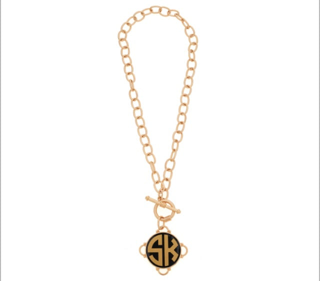 tanya-sopretty - Madeleine Gold on Black Monogram Necklace - Necklace