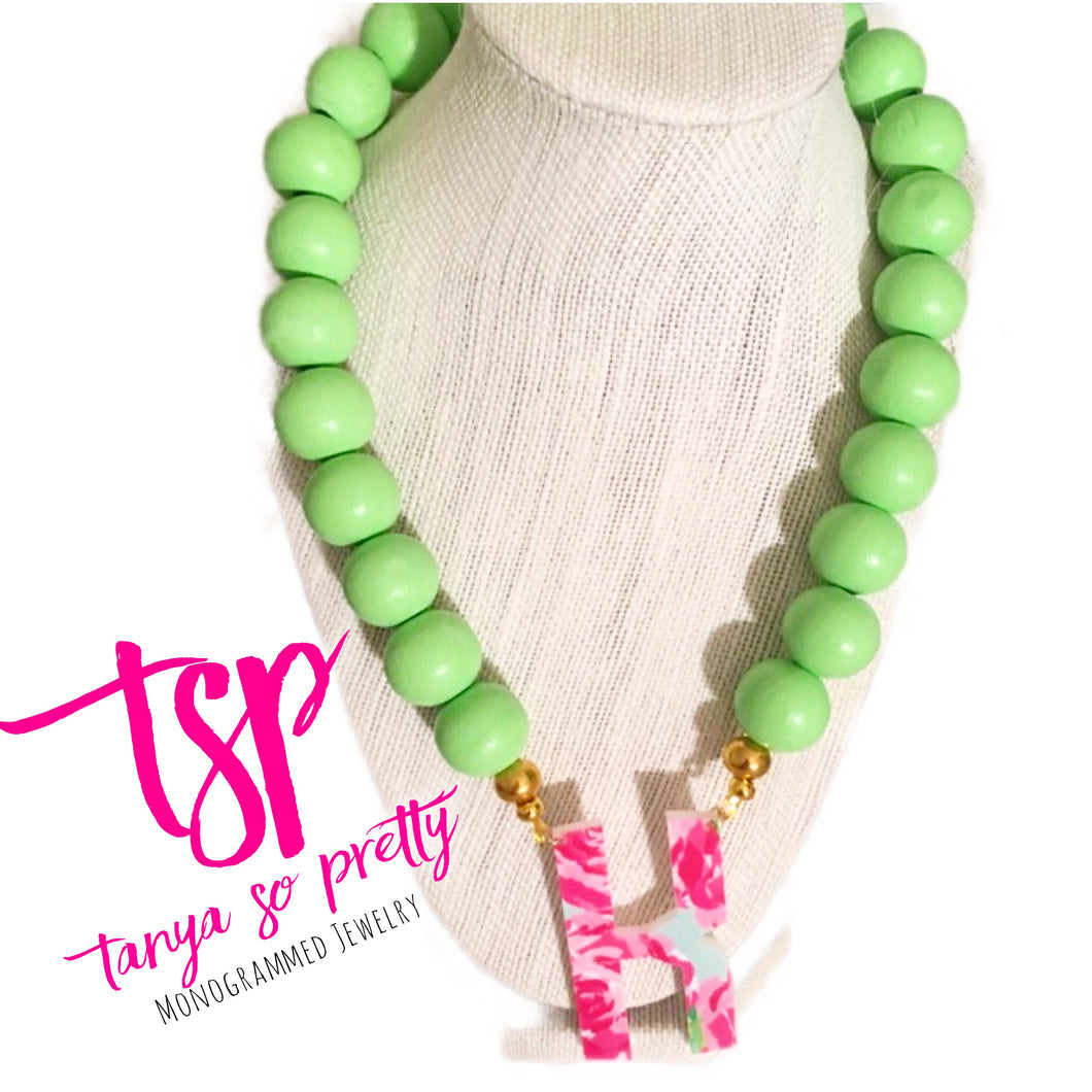 tanya-sopretty - Single Initial Lime Sherbet Monogram Necklace - Necklace