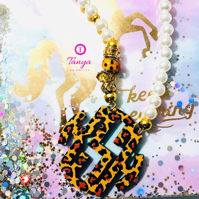 tanya-sopretty - Leopard Block Monogram Pearl Necklace - Necklace