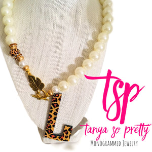 tanya-sopretty - Single Initial Leopard Monogram Necklace - Necklace