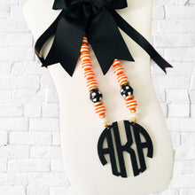 Load image into Gallery viewer, Preppy Halloween Block Monogram Necklace 3""