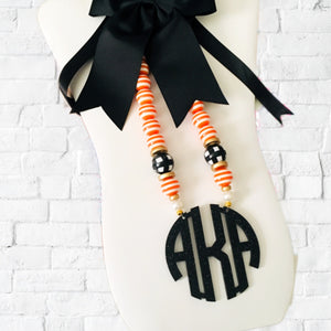 Preppy Halloween Block Monogram Necklace 3""