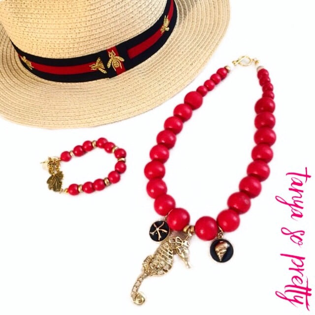 tanya-sopretty - Red Seahorse Derby Necklace - Necklace