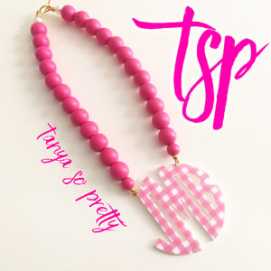"tanya-sopretty - Pink Gingham Block Monogram Necklace 3"" - Necklace"