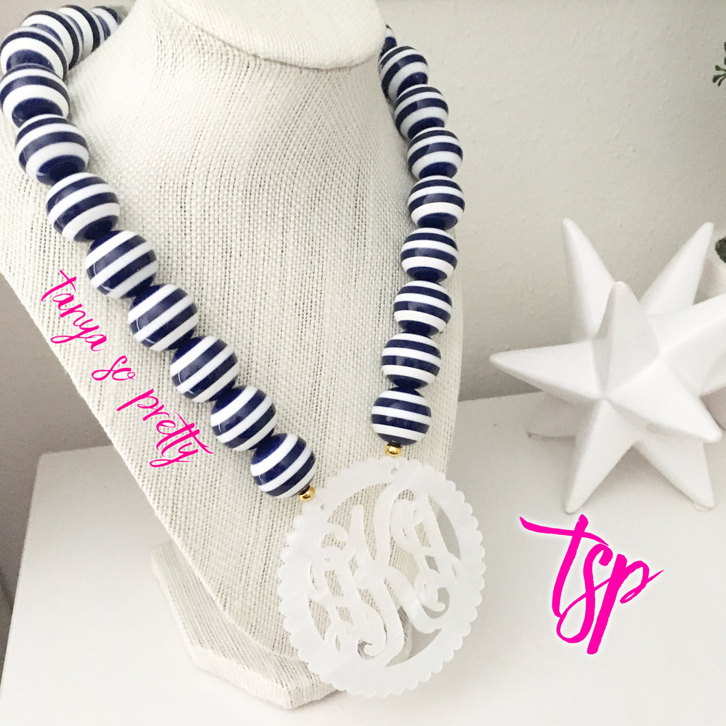"tanya-sopretty - Nautical Navy Striped Scalloped Monogram Necklace 3"" - Necklace"