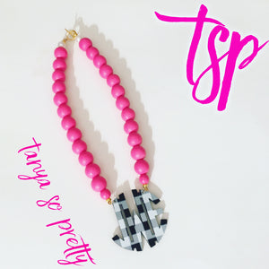 "tanya-sopretty - Pink Buffalo Plaid Block Monogram Necklace 2.5"" - Necklace"