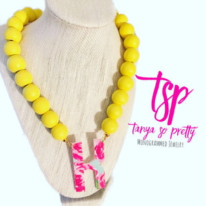tanya-sopretty - Single Initial Bright Yellow Monogram Necklace - Necklace