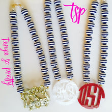 "Load image into Gallery viewer, tanya-sopretty - Nautical Navy Striped Scalloped Monogram Necklace 3"" - Necklace"