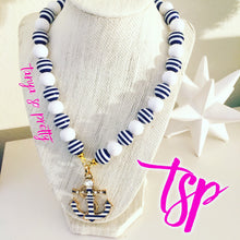 Load image into Gallery viewer, tanya-sopretty - Striped Nautical Anchor Necklace - Necklace