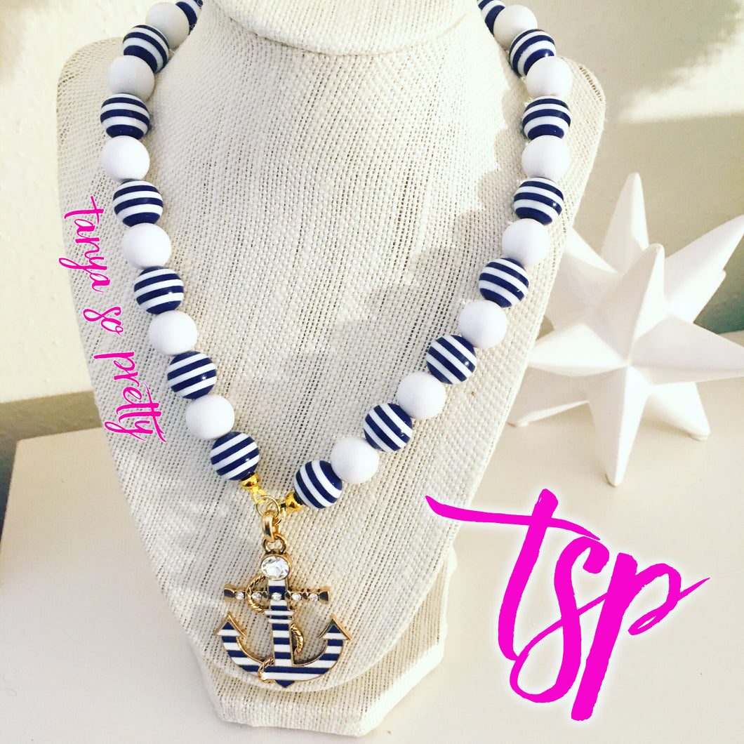 tanya-sopretty - Striped Nautical Anchor Necklace - Necklace