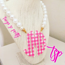 "Load image into Gallery viewer, tanya-sopretty - Pink & Pearl Gingham Block Monogram Necklace 2.5"" - Necklace"