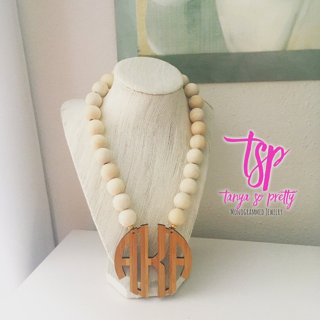 Naturally Bamboo Monogram Necklace 2.5""