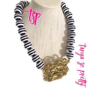 "tanya-sopretty - Nautical Navy Sparkle Script Monogram Necklace 3"" - Necklace"