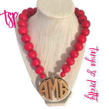 "Load image into Gallery viewer, tanya-sopretty - Red Bamboo 2.5"" Block Monogram Necklace - Necklace"