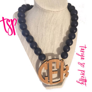 "Navy Bamboo 2.5"" Block Monogram Necklace"