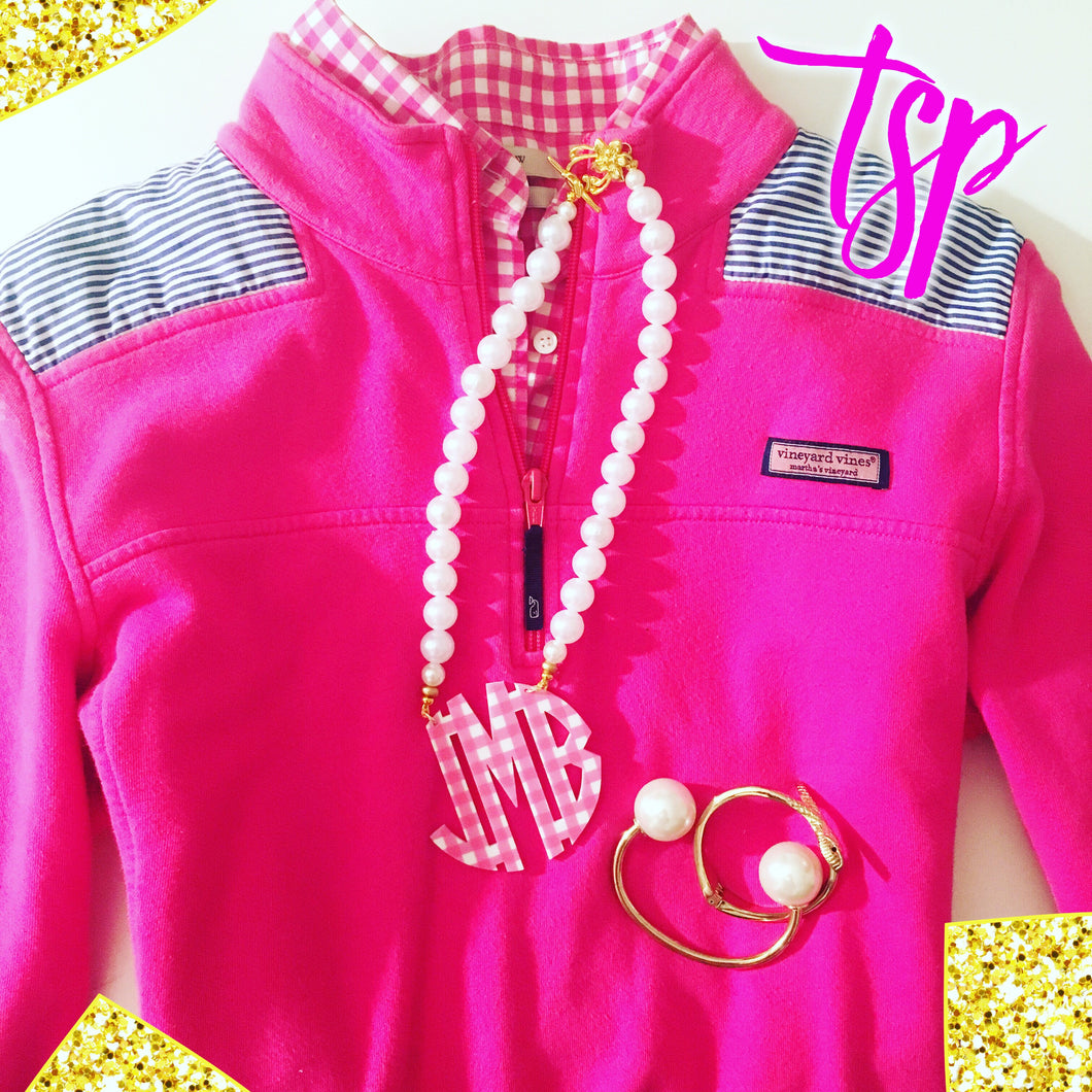 tanya-sopretty - Pink & Pearl Gingham Block Monogram Necklace 2.5