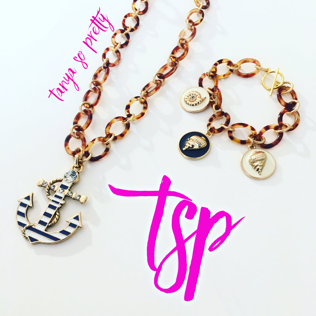 Nautical Anchor Tortoiseshell Necklace