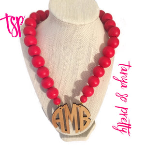 "tanya-sopretty - Red Bamboo 2.5"" Block Monogram Necklace - Necklace"