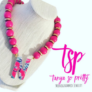 tanya-sopretty - Single Initial Pink & Gold Monogram Necklace - Necklace