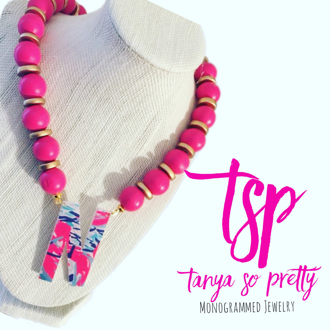 Single Initial Pink & Gold Monogram Necklace