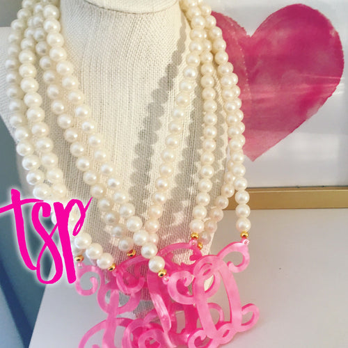 tanya-sopretty - Single Initial Pink Pearl Monogram Necklace - Necklace
