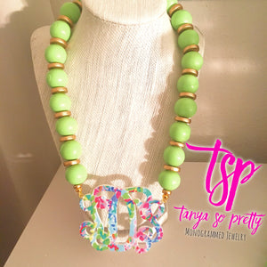 tanya-sopretty - Lime Garden Monogram Necklace - Necklace
