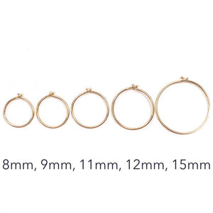 8mm Solid Gold Small Hoops
