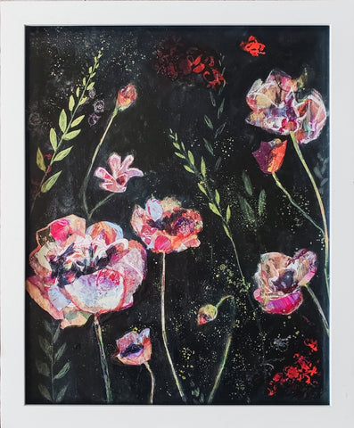 Collage floral with moody black background, painted, with red and white flowers loosely collaged across the wood board painting