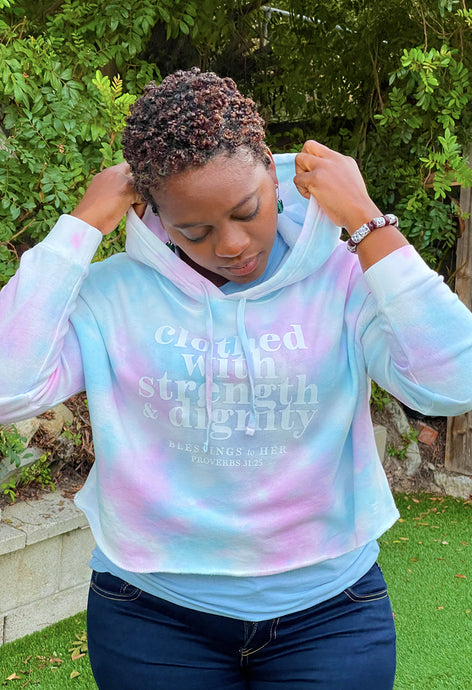 FrshFaith Clothed with Strength & Dignity Blessings to Her Cotton Candy Cropped Hoodie