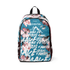 MJF Teal & Floral Fabric Backpack