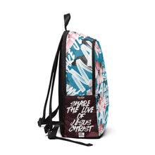 Load image into Gallery viewer, MJF Teal & Floral Fabric Backpack