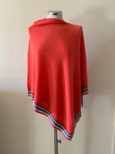 Miss Sugar cashmere and merino wool rainbow trim poncho - Coral