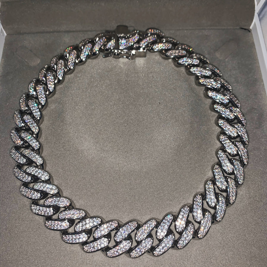 Celia Cuban Link Chain Necklace (Silver)