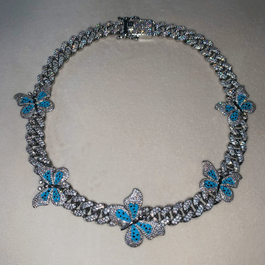 Kylie Cuban Link Chain (Blue)