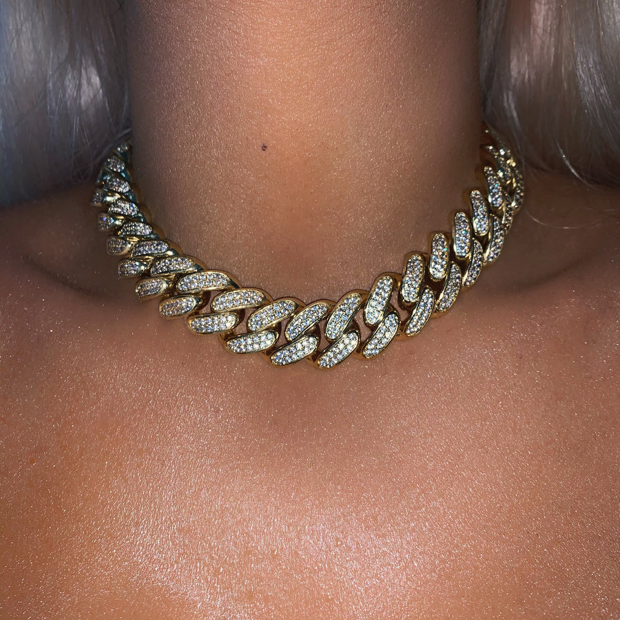 Celia Cuban Link Chain Necklace (Gold)