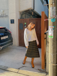 Wool Skirt (Plaid Green)