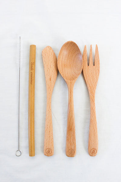 WOODEN CUTLERY SET & BAMBOO STRAW  BAMBOO CUTLERY SET SPORK STAINLESS STEEL STRAW ZERO WASTE Senda Essentials