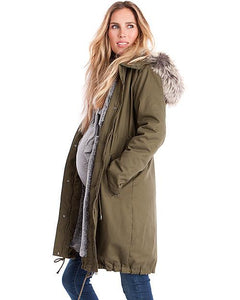 dd0f55e052b30 Maternity 2-in-1 Cotton Canvas Parka With Faux Fur Lining – wakikoo