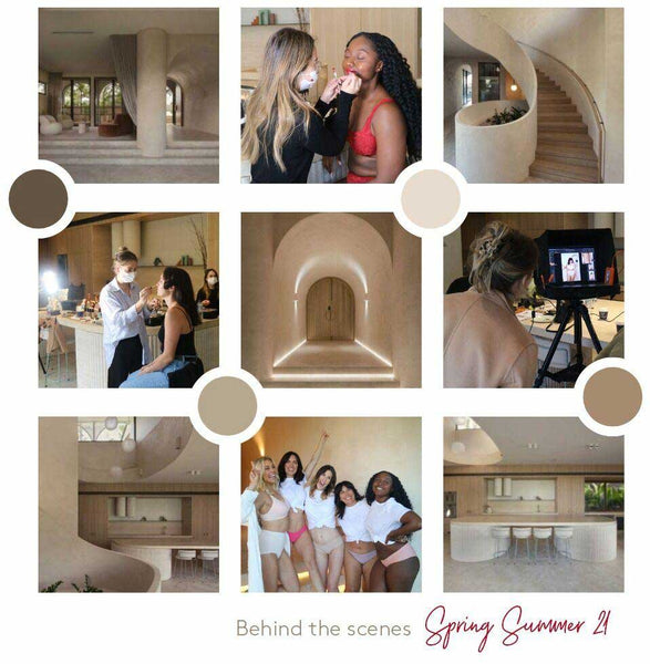 Behind the scenes images shot at Arcos during the SS21 Triumph shoot