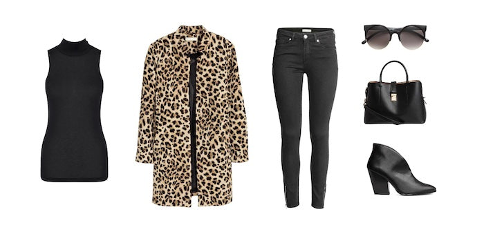 Fashion styling flatlay of thermals, coat and jeans