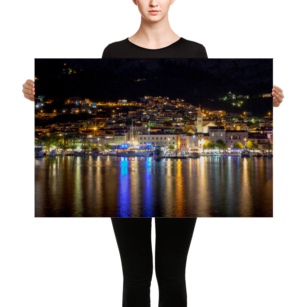 Makarska at night - Impression sur toile